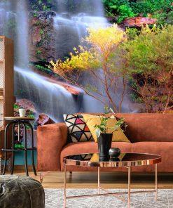 Wodospad i drzewa - tapeta