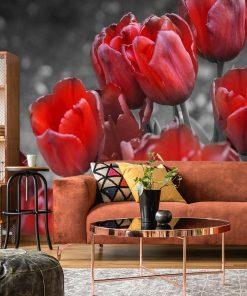 Tapeta z czerwonymi kwiatami