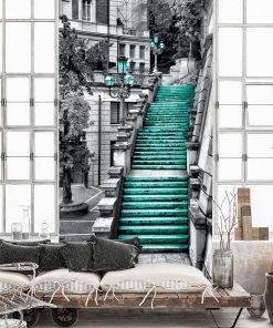 Fototapeta - schody i uliczka