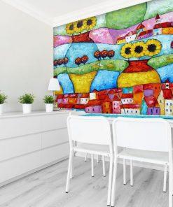 tapeta z kolorowymi domkami