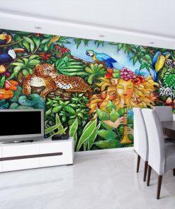 tapeta z kobietą w dżungli