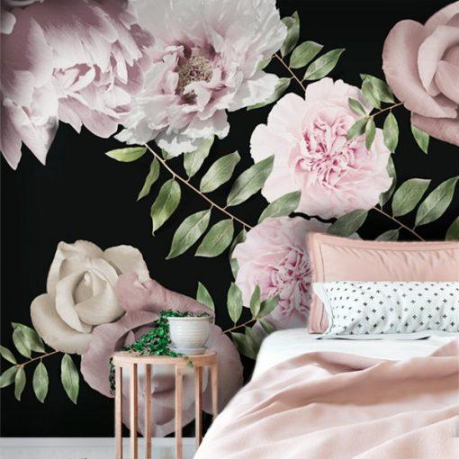 tapeta z botanicznymi kwiatami