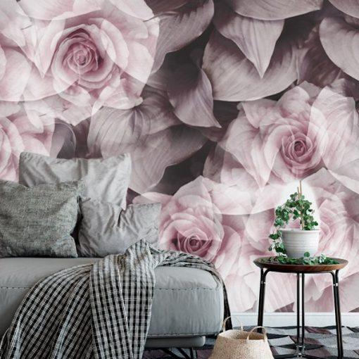foto-tapeta pudrowe kwiaty