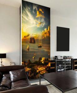 salon z tapetą z Sycylią