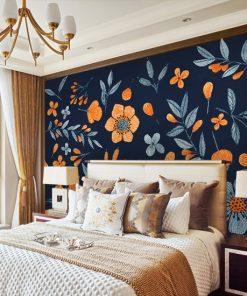 sypialnia z folkowymi wzorami