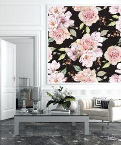 czarna fototapeta z różami