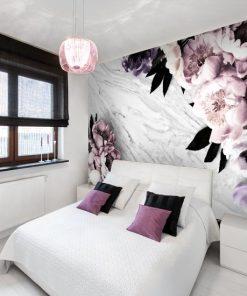 tapeta z marmurkiem i kwiatami