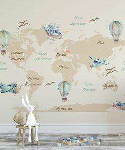 Fototapeta z mapą i ilustracjami balonów