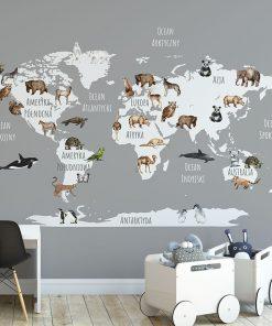 Tapeta dla dziecka zwierzątka na mapie
