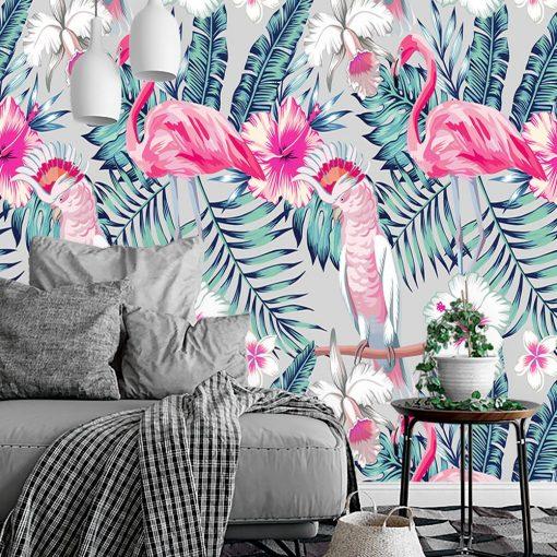 flamingi i li艣cie jako motyw