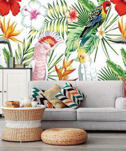 kolorowa tapeta z tropikami