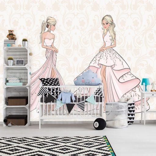 Tapeta lalki w r贸偶owych sukniach