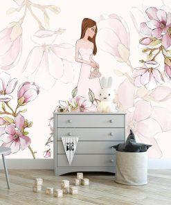 Fototapeta magnolia i lalka