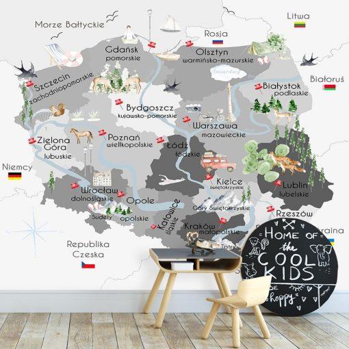 Tapeta z motywem polskiej mapy