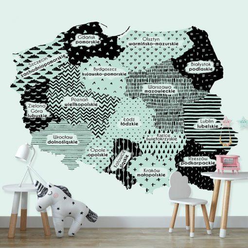 Miętowa fototapeta z mapą Polski