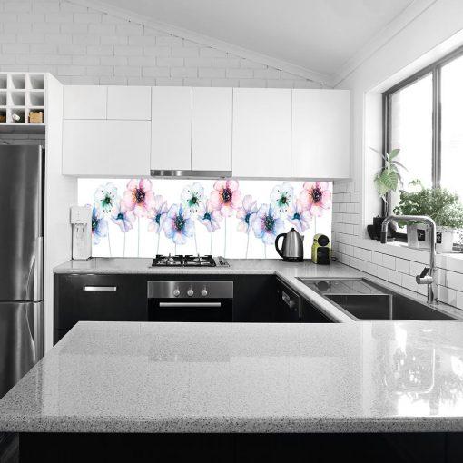 fototapeta kuchenna w pastelowe kwiaty