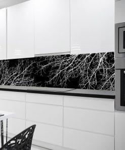 czarno-bia艂a fototapeta kuchenna z ga艂臋ziami drzew