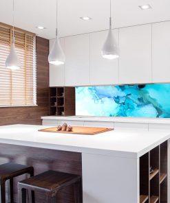 niebieska fototapeta do kuchni