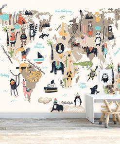 tapeta z przyjaznymi zwierzętami do pokoju dziecka