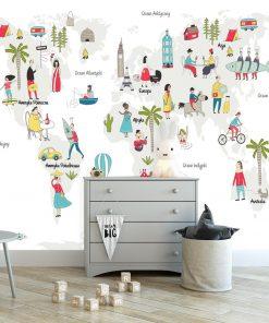 tapeta przedstawiająca mapę świata do pokoju dziecka