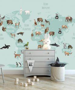 fototapeta z motywem mapy świata na ścianę pokoju dziecka