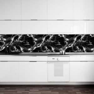 fototapeta z czarno-bia艂ym marmurem do kuchni