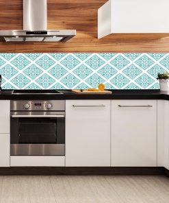 fototapeta kuchenna z turkusowym wzorem