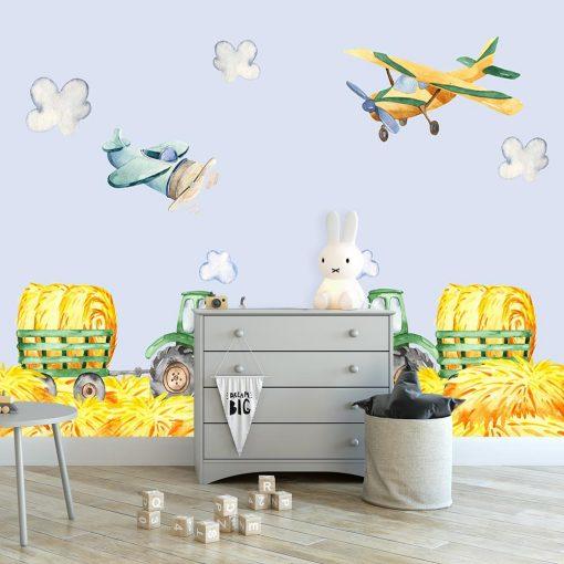 fototapeta z motywem samolot贸w do pokoju dziecka