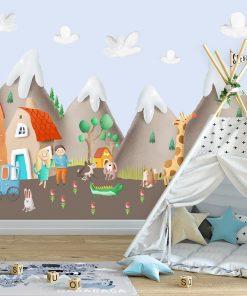 góry i domki jako tapeta