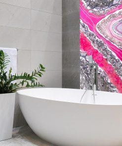 tapeta żywiczna różowa do łazienki