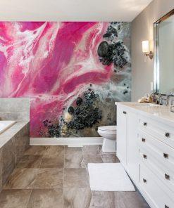 różowa dekoracja w formie tapety