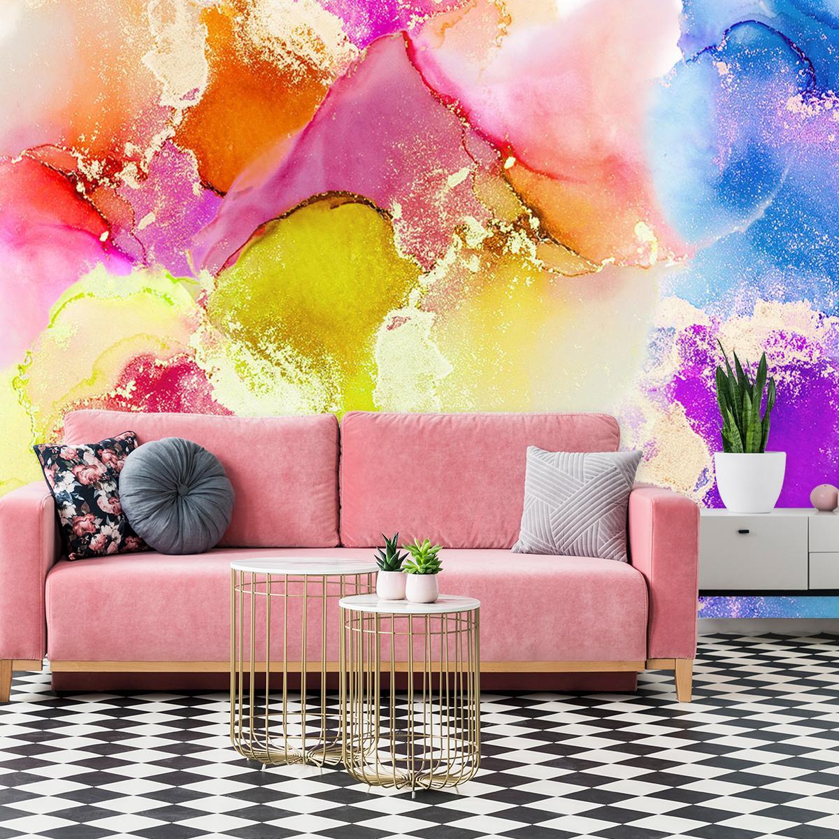 kolorowa fototapeta do salonu z akwarelowym motywem