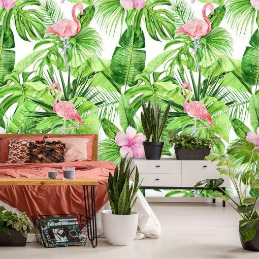 Foto-tapeta z hibiskusem, monster膮 i flamingami