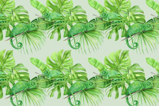 Kameleony i tropikalne li艣cie jako fototapeta