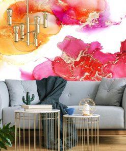 Abstrakcyjna fototapeta w ciepłych kolorach różu i pomarańczu