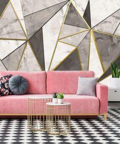 Dekoracja papierowa a marmurem w trójkątach