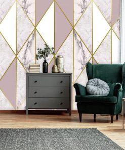 Delikatna marmurowa mozaika jako tapeta na ścianę