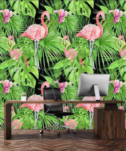 tapeta zielona z flamingiem i monsterą