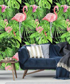 ścienna fototapeta z flamingami i liśćmi