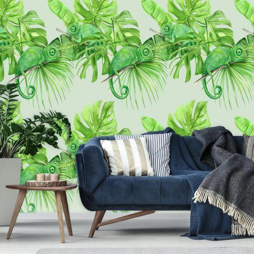 Kameleony i tropikalne li艣cie na tapecie