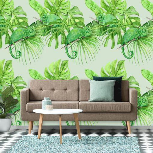 Dekoracja z kameleonami na tle tropikalnych li艣ci