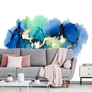 Tapeta do salonu z abstrakcyjnymi plamami