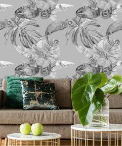 czarno-biała dekoracja tropikalna