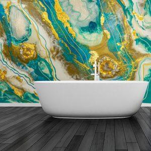 fototapeta turkusowo złota abstrakcja inspiracja do łazienki