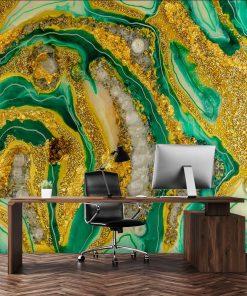 Dekoracja abstrakcja żółto zielona do biura