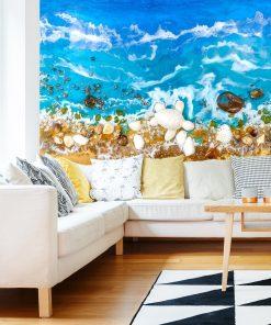Dekoracja do salonu fototapeta morze fale sztuka żywiczna
