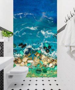 Fototapeta kompozycja malarska zielono niebieska do łazienki