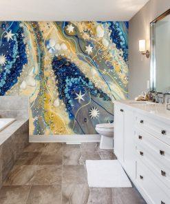 łazienka dekorowana fototapetą