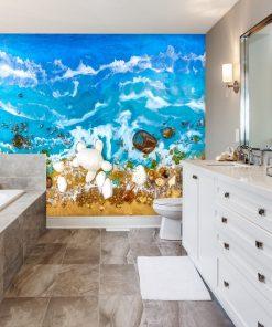 fototapeta dekoracja reprodukcja sztuka żywicy morze resin sea turkusowa