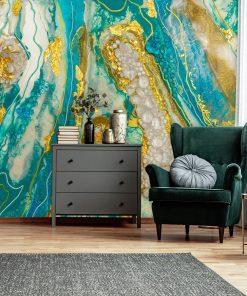 fototapeta do pokoju abstrakcja geode art turkusowa złota z kamieniami